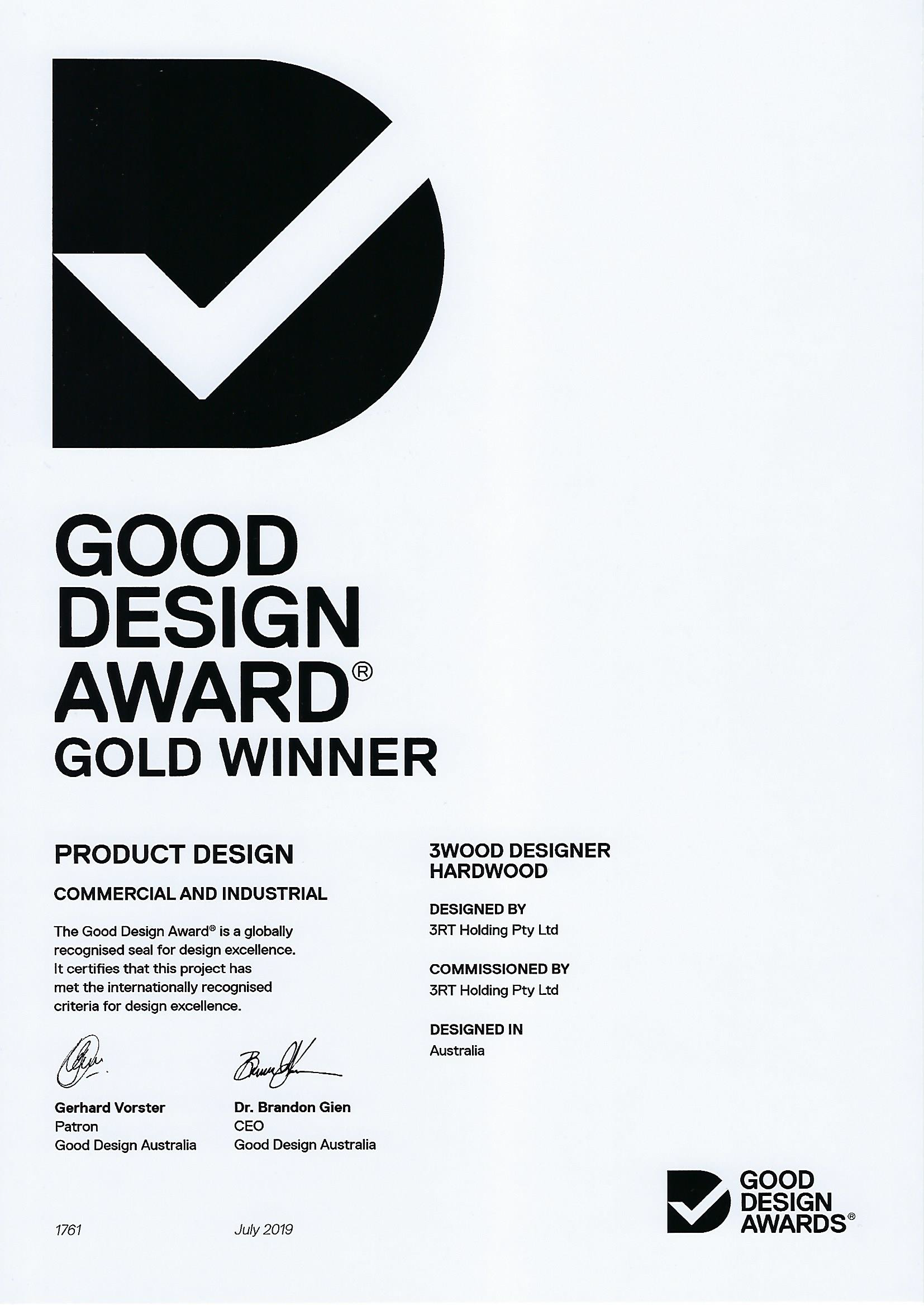 3RT - Good Design Awards 2019 - Gold Product Design